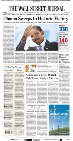 Obama wins: WSJ front page, Nov. 5, 2008
