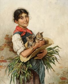 "Duesseldorfer Auktionshaus - ""The Cats' Mama"" by Heinrich Reinhart (1829-1914)"