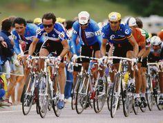 Campionato del Mondo 1986. Colorado Springs (USA), 6 settembre. In testa al gruppo Gianbattista Baronchelli (1953),  Bernard Hinault (1954), Guido Bontempi (1960) e Claude Criquielion (1957-2015)