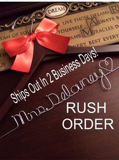 RUSH ORDER for Personalized Wedding Hanger