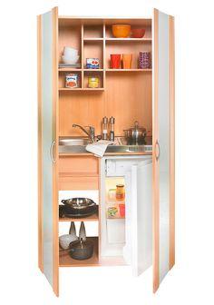 Schrankküche, mit Duo - Kochmulde