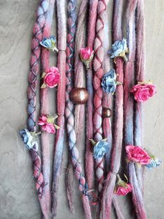 10 EverAfter Flower Maiden  Tie-Dye Wool Synthetic Dreadlock Extensions Boho Dreads Hair Wraps & Beads Custom