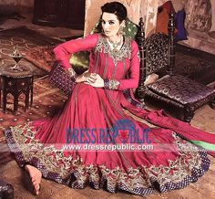 Party wear Anarkali Suit in Cherry Color n Crinkle Chiffon Fabric 2014