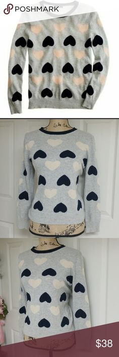 J. Crew Sweater Heart Sweater   Great condtion!  Hearts are cream and black   24% wool J. Crew Sweaters