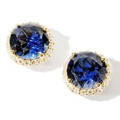 4.9ct Absolute  Round Created Sapphire Framed Stud Earrings
