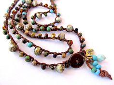 """Crochet wrap bracelet, beaded, boho necklace, brown, olive, """"rustic bloom"""", boho bracelet, bohemian jewelry, fall fashion, crochet jewelry"""