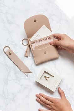 Have you been carded lately? I love hearing that friends in their are still getting IDd at the liquor store! Leather Card Case, Leather Pouch, Leather Accessories, Leather Jewelry, Must Have Travel Accessories, Monogrammed Luggage Tags, Leather Business Card Holder, Vegan Handbags, Monogram Jewelry