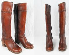 Vintage 1970s Rust Brown Tall Boots Womens by pardonmypastvintage, $80.00
