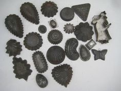 Old Vintage Chocolate Cookie Cutter Candy Half Molds tin Metal Lot of 22