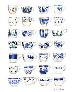 Blue and White Pattern China Teacups Watercolor Painting by Laura Row on Artfully Walls