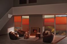 Contemporary orange colour inspiration for the home. Cosy winter living room with fire. Best Blinds, Diy Blinds, Fabric Blinds, Shades Blinds, Wooden Window Blinds, Sliding Door Blinds, Blinds For Windows, Living Room Blinds, House Blinds