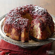 Berry Cake - made with fresh raspberries, cranberries, and pomegranate seeds. This sounds decadent!