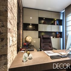 New home office planejado masculino ideas Office Cabin Design, Small Office Design, Small Space Office, Small Home Offices, Office Interior Design, Home Office Decor, Office Interiors, House Design, Home Decor