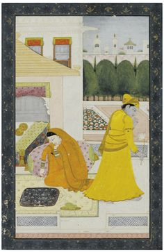 AN ILLUSTRATION TO THE ASHTA NAYIKA (ABHISANDHITA NAYIKA): THE LOVERS' QUARREL, INDIA, KANGRA, CIRCA 1800
