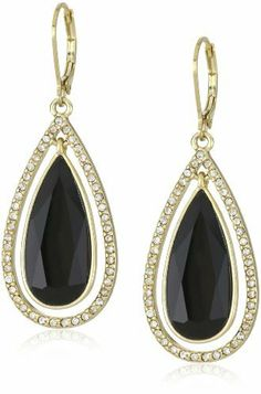 "Anne Klein ""Bruma"" Gold-Tone Jet and Crystal Colored Tear Drop Earrings Anne Klein. $28.00. Made in CN"