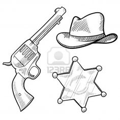 Doodle style wild west cowboy and sheriff objects illustration in vector format including gun, badge and hat Stock Photo