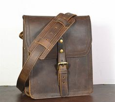 Vertical Leather Satchel Small Leather Messenger by SolidLeatherCo