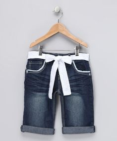 Take a look at this Dark Denim & White Bermuda Shorts by Fashion Points: Tween Trends on #zulily today! #fall
