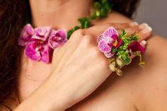 botanical ring  and necklace with mini phaelonopsis orchids and texture, Françoise Weeks