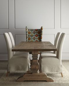 Natural Dining Table & Upholstered Dining Chairs - Horchow
