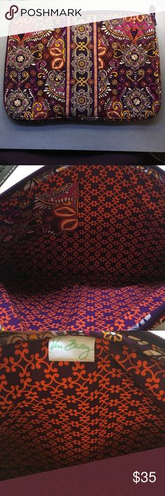 """New 17"""" Vera Bradley Laptop Sleeve! Never used, it was an accidental purchase! Is too big for my current laptop! Outside is purple and plum with some pink, orange and yellow! Inside is orange and plum! Very cute, never used, no stains or tears! Is brand new! Feel free to make an offer! 😊 Vera Bradley Bags Laptop Bags"""