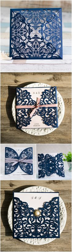 navy blue floral silver laser cut invitations EWWS090 as low as $2.09