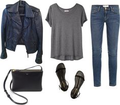 Day outfit par trenchcoatandcoffee utilisant sandales noiresOrganic by John Patrick short sleeve shirt / Balenciaga jacket / Frame Denim cro...