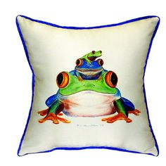 Betsy Drake 22-inch x 22-inch Stacked Frogs Throw Pillow (Stacked Frogs Pillow 22x22), Multi (Polyester, Solid Color)