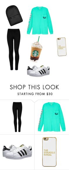 """""""Starbucks lover"""" by amandapanda0323 ❤ liked on Polyvore featuring Wolford, Victoria's Secret, adidas Originals, BaubleBar and Rains"""