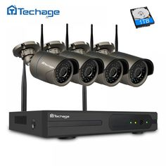 Techage Plug and Play 4CH 1080P HD Wireless NVR Kit P2P 720P 1MP Indoor Outdoor IR Night Vision Security Camera WIFI CCTV System  Price: $ 144.99 & FREE Shipping   #computers #shopping #electronics #home #garden #LED #mobiles