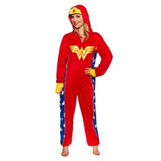 After a long day of letting your geek flag fly, pull on this Wonder Woman Lounger and curl up into a super-powered dreamland. Full zip union suit features the WW logo embroidered in satin on the front, and a hood complete with tiara