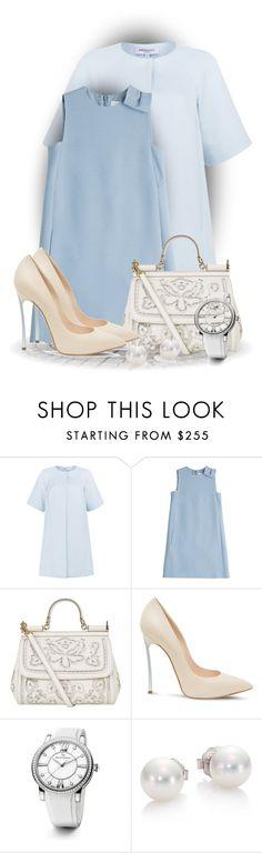 """Blue Coat"" by bliznec ❤ liked on Polyvore featuring Peridot London, Valentino, Dolce&Gabbana, Casadei, David Yurman, Mikimoto, women's clothing, women, female and woman"