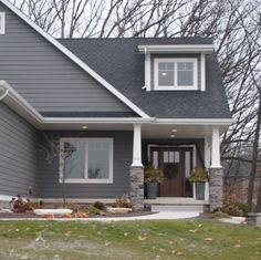 grey brick home   Cape Coddin in Indiana: Stone, Brick, or both?