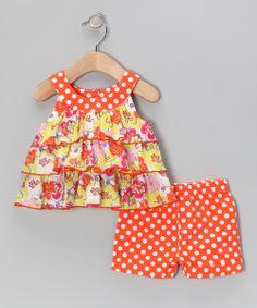Orange Ruffle Top & Polka Dot Shorts - Toddler & Girls