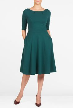 I this Cotton knit fit and flare dress from eShakti Custom Dresses, Modest Dresses, Plus Size Dresses, Pleated Dresses, Work Dresses, Fit N Flare Dress, Fit And Flare, Teal Green Dress, Wedding Dress Brands