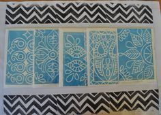 Set of 5 Hand Block Printed Cards with Coordinated by KanalShah, $20.00