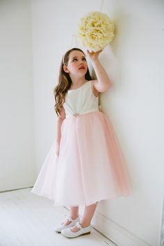 Satin Flower Girl Dress with Organza skirt and pin on brooch.