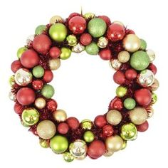 "16"" Shatterproof Ornament Wreath - Traditional Colors"