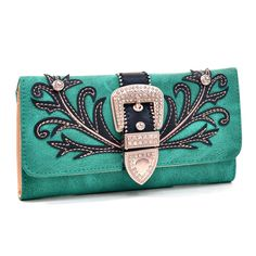 The rhinestone accented western stitched tri-fold wallet is just right for your everyday errands. Fashionably versatile and all in a slim package.