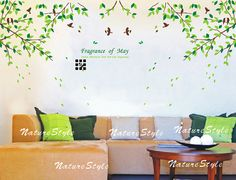 Branch with Flying Birds Vinyl Wall by NatureStyle on Etsy, $65.00