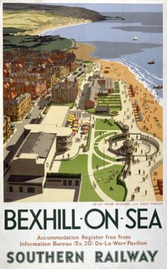 Poster produced in 1947 for the Southern Railway (SR) of Bexhill-on-Sea in Sussex, showing the De-La-Warr Pavilion and East Parade. The artwork is by Ronald Lampitt.