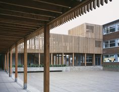 alterations - timber arcade, walkway + facade - Park View Secondary School, Birmingham - Haworth Tompkins - 2012