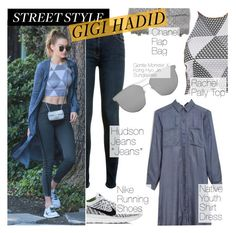 """Street Style : Gigi Hadid"" by tasnime-ben ❤ liked on Polyvore featuring Hudson, Chanel, Rachel Pally, NIKE and Gentle Monster"