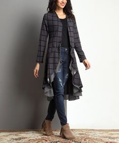 This Charcoal Windowpane Open Drape Cardigan is perfect! #zulilyfinds