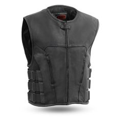 Check this high-quality First Manufacturing leather vest. Made of top-grade naked cowhide leather, with hidden snap closure and center zipper. Motorcycle Vest, Motorcycle Leather, Biker Leather, Cowhide Leather, Leather Men, Biker Vest, Nylons, Black Leather Vest, Swat