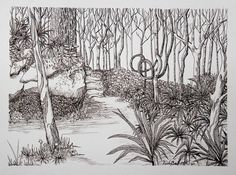 ORIGINAL Drawing FOREST PATH Ink on Paper 9x12 by LongRoadArt, $40.00