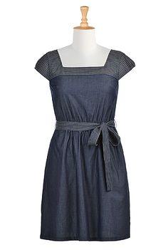 I <3 this Trapunto trim denim chambray dress from eShakti