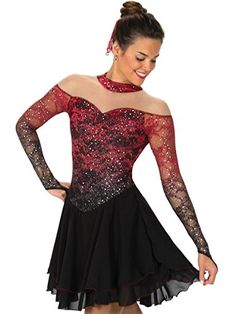 Jerry's Figure Skating Dress 132  Off the Shoulder Glitter Lace w/ Finger Point Long Sleeve Dress  Matching Hair Accessory  80% Nylon 20% Spandex  Made in Canada  Jerry's Skating World Dress 132