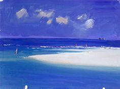 John Miller - Windsurfers at Godrevey - oil on paper Hayle Cornwall, West Cornwall, John Miller, Cityscape Art, Landscape Paintings, Landscapes, Art For Art Sake, Celtic, Surfing