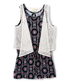 Another great find on #zulily! Black Medallions Romper & Coconut Lace Vest - Girls #zulilyfinds
